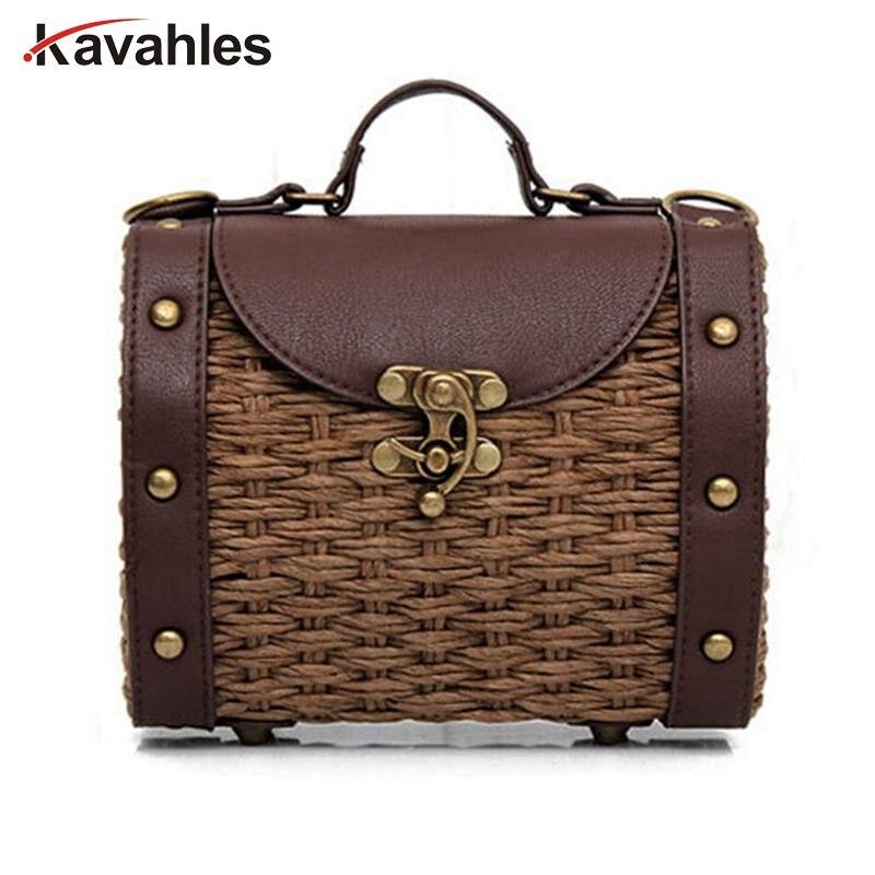 Casual Boston Bag Fashion Vintage Handmade Straw Bag+PU Leather Women Handbags Mini Lady Grass Weaving Bag Shoulder Bag f40-696