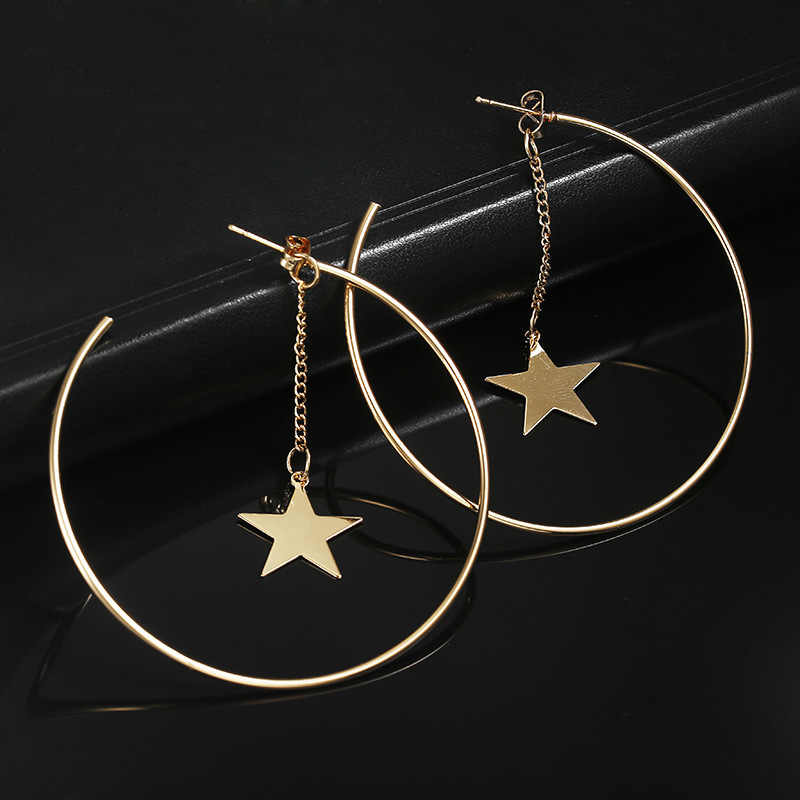 Personality Super Big Circles Hoop Earrings for Women Fashion Gold Color Jewelry Trendy Retro Big Round Circle Star Earrings