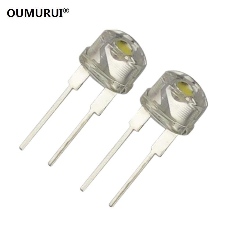 F8 High Bright 8mm LED Strawhat Diode Short Leg Emitting White Light 7000-8000k 0.75w 3.1-3.3v 150-180mA 100PCS Free Shipping