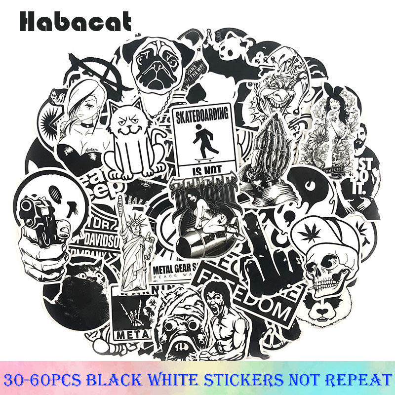 30-60Pcs/Pack Black And White Mixed Stickers Cartoon Stickers For Luggage Laptop Skateboard Stickers Moto Bicycle Guitar Fridge