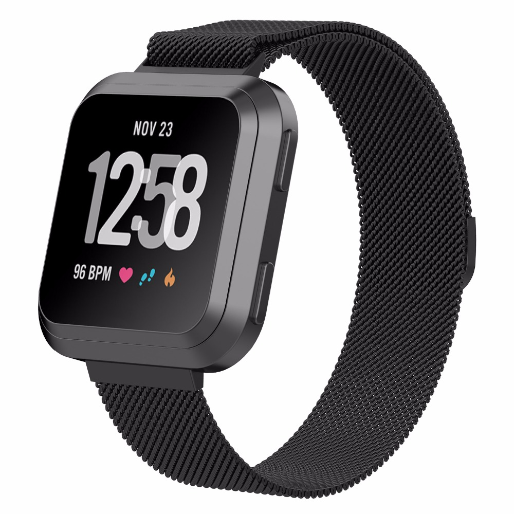 Bemorcabo for Fitbit Versa Bands,Milanese Loop Stainless Steel Magnet Lock Bracelet Band for 2018 New Fitbit Versa Smartwatch