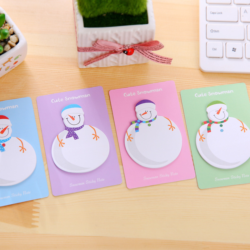 20pcs Snowman Memo Pad Paper Sticky Notes Stickers Planner Loose Leaf Christmas Gift Decoration MemoPads School/Office wholesale