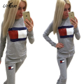 2016 Autumn Sweatshirt and Pants Set 2 Two Piece Set Long Sleeved Casual Tracksuit Letter Print Sweat Suits Women Sets RS211
