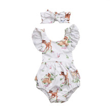 0-18m criança infantil bebê menina bambi veados voando sem mangas bonito bodysuit macacão sunsuit roupas outfit