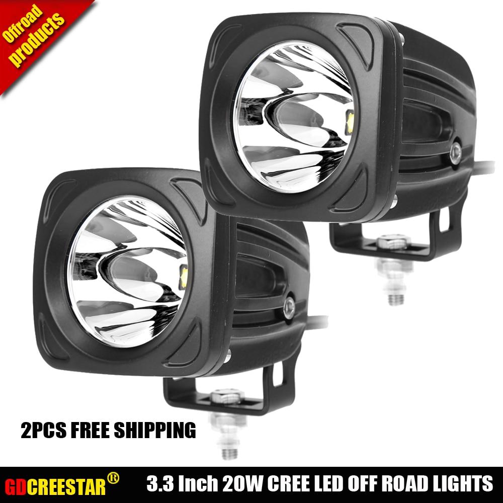12V 24V Led Spotlights 20W Square COB Led work driving lights Used for Car SUV Truck 4WD Wrangler SUV polaris 2PCS Free shipping