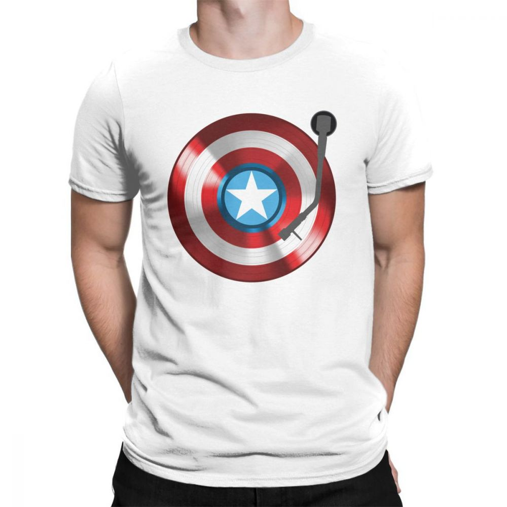 Captain America T Shirts Vinyl Record Player Marvel