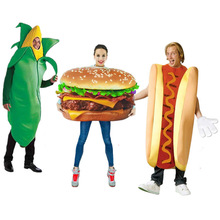 adult pizza funny hot dog corn hamburger costume party role play outfits women men halloween cosplay