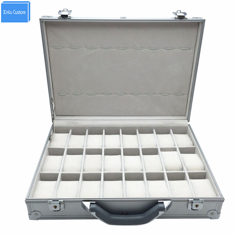 Luxury Aluminum Watch Box Suitcase Storage Watch Display Key Lock Case, Aluminum Watch Storage Security Box, 24 Unit Spaces
