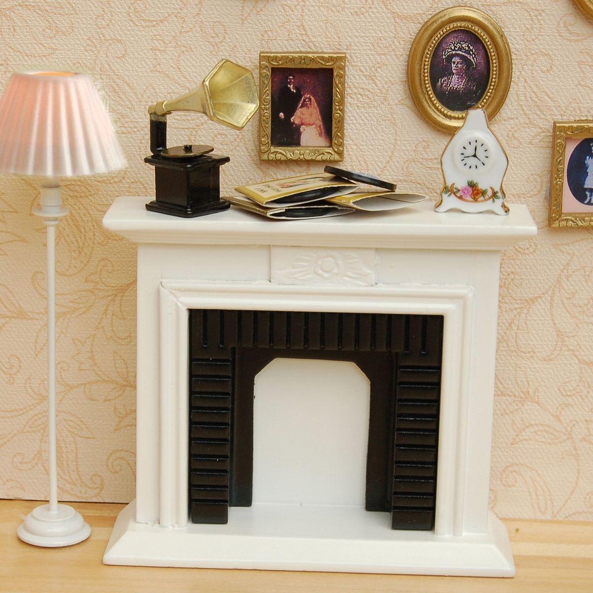 1/12 Scale DIY Handmade Miniature White Fireplace Dollhouse Decor Furniture Accessorie Kits Mini Toys Gift For Children hearth