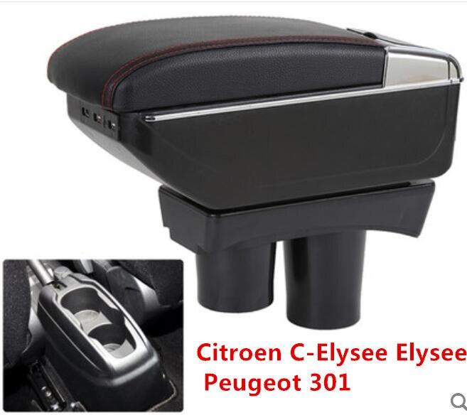 GRANDE ESPAÇO + LUXO + USB apoio de braço caixa de Armazenamento De conteúdo estiva tidying APTO PARA Peugeot 301 NOVO Elysee citroen c 2012-16