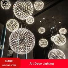 Lámpara colgante fuegos artificiales LED regulable, creativa y moderna, luces de bola de acero inoxidable para Bar/restaurante, lámparas Lustre