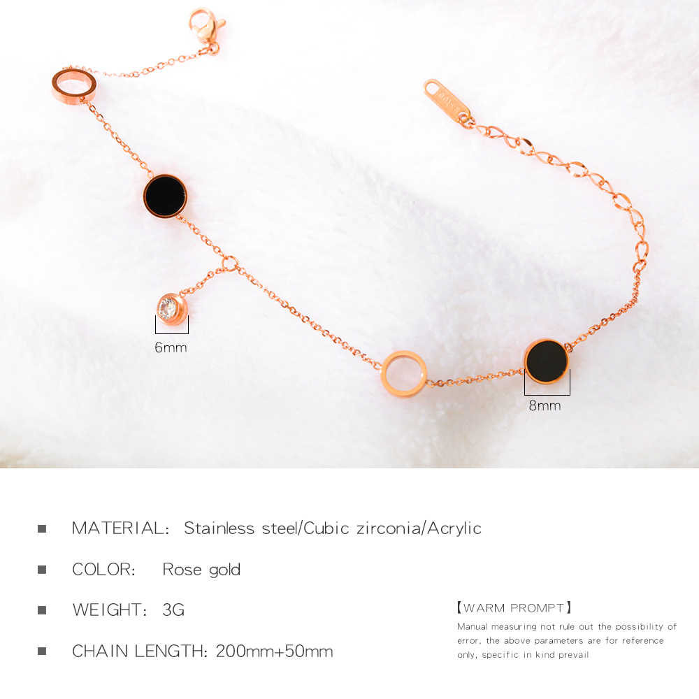 Lokaer Vintage Stainless Steel Rose Gold Beaded Chain Round Charm Leg Anklets For Women Ankle Bracelet Woman Foot Jewelry A19005