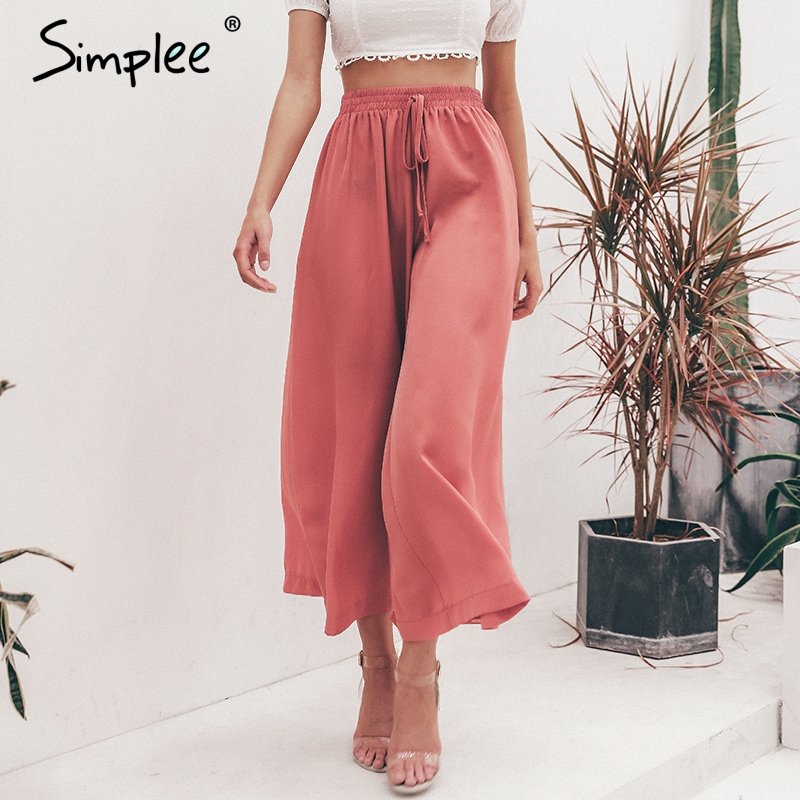Simplee Elastic high waist   wide     leg     pants   women Solid lace up trousers streetwear   pants   Female pockets plus size summer   pants