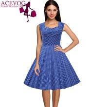 ACEVOG Brand Women Summer Casual Dress 1950s Rockabilly Vintage Style Dot Midi Cap-shoulder Swing Dress XXXL Feminino Vestidos