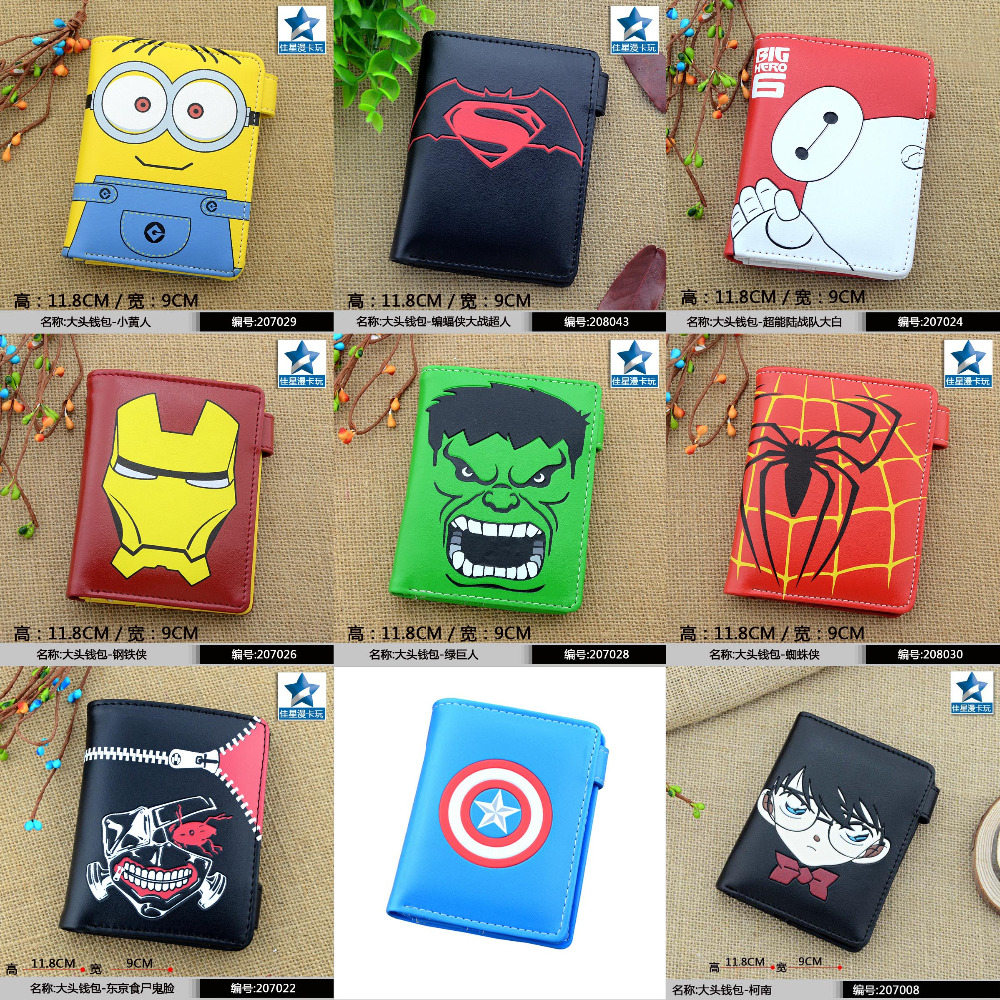 PU Button Short Wallet/Purse of Minion/Captain America/Batman v Superman/Big Hero 6/Iron Man/Hulk/Spider Man/Tokyo Ghoul/Conan лонгслив printio spider minion