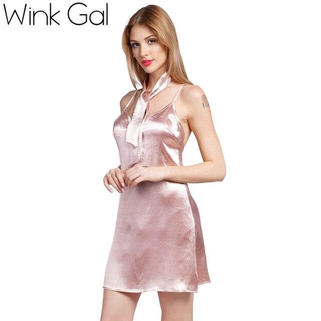 Wink Gal Slip Dress Short Party Women Summer Beach Dresses Backless Y Silk Robe