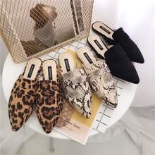 รองเท้าผู้หญิงรองเท้าส้นสูงรองเท้าแตะ pointed toe Mules ตื้นสไลด์ Leopard Slip บน loafers สุภาพสตรีงูพิมพ์ sandalias mujer สีดำ