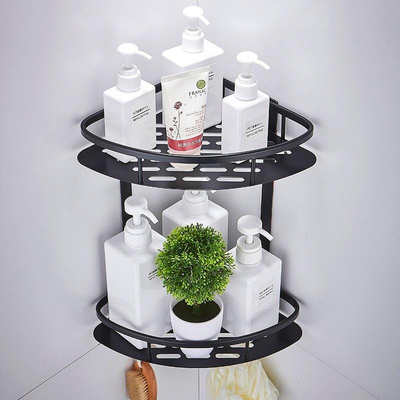 Raum Aluminium Schwarz Ecke Korb Bad Produkte Shampoo Halter Kosmetische Lagerung Racks Dusche Caddy Sheves Bad Zubehör