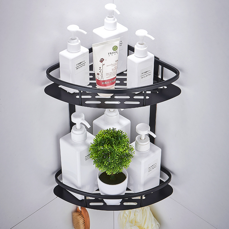 Space Aluminum Black Corner Basket Bathroom Products Shampoo Holder Cosmetic Storage Racks Shower Caddy Sheves Bath Accessories image