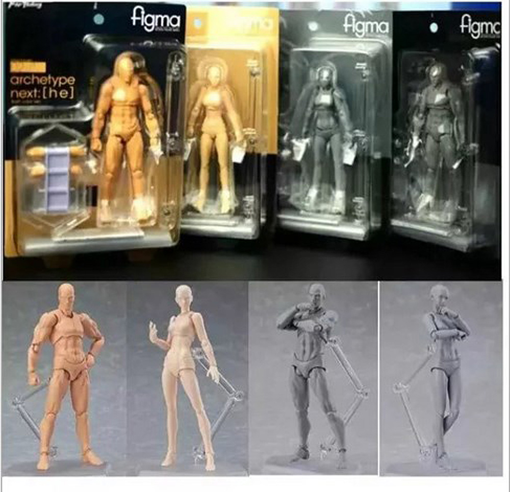 13cm Figma BODY KUN / BODY CHAN Grey Orange Yellow PVC Action Figure Model Toys shfiguarts pvc body kun body chan body chan body kun grey color ver black action figure collectible model toy
