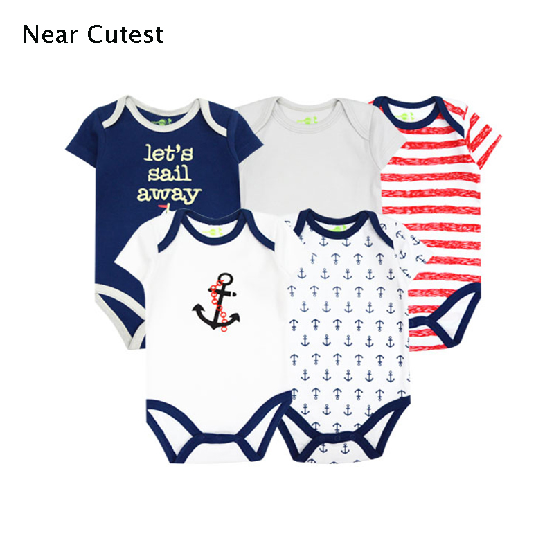 Near Cutest 5pcs/lot Baby Rompers Cotton Boys Costume Girls Short Sleeve Clothes Infant Jumpsuit Newborn Baby Wear cotton baby rompers set newborn clothes baby clothing boys girls cartoon jumpsuits long sleeve overalls coveralls autumn winter