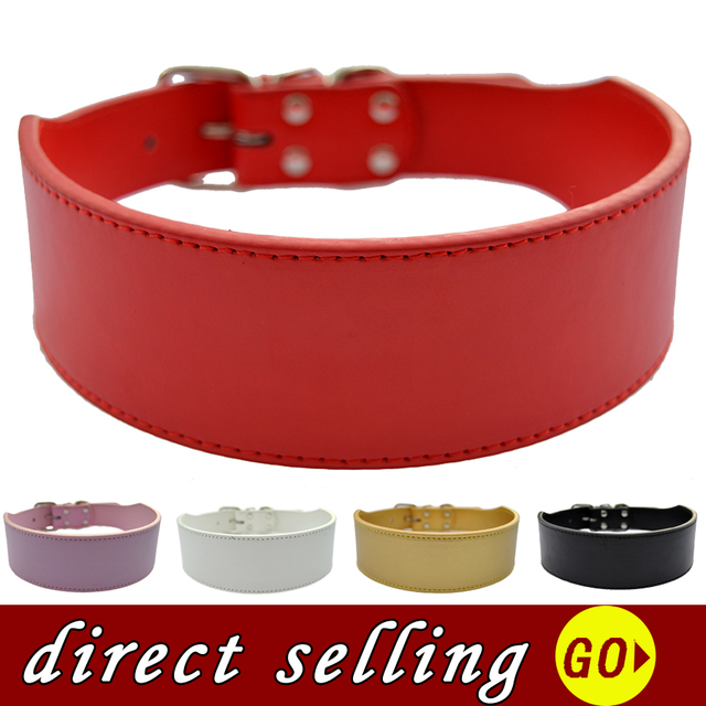 Large Pet Dog Collar 2 Inch Wide Pu Leather Collar White Black Red Pink Gold Color Medium Size Pet Products Adjustable XXL