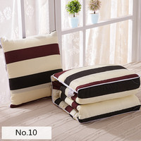 Modern Style Brown Stripes Pattern Soft Bolster Blanket Two Uses Cushion Good Quality Pillow Summer Quilt