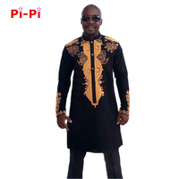 Free Shipping African Dashiki Traditional Printing Man African Stand Collar Long Sleeved Long Sleeves Shirt Plus