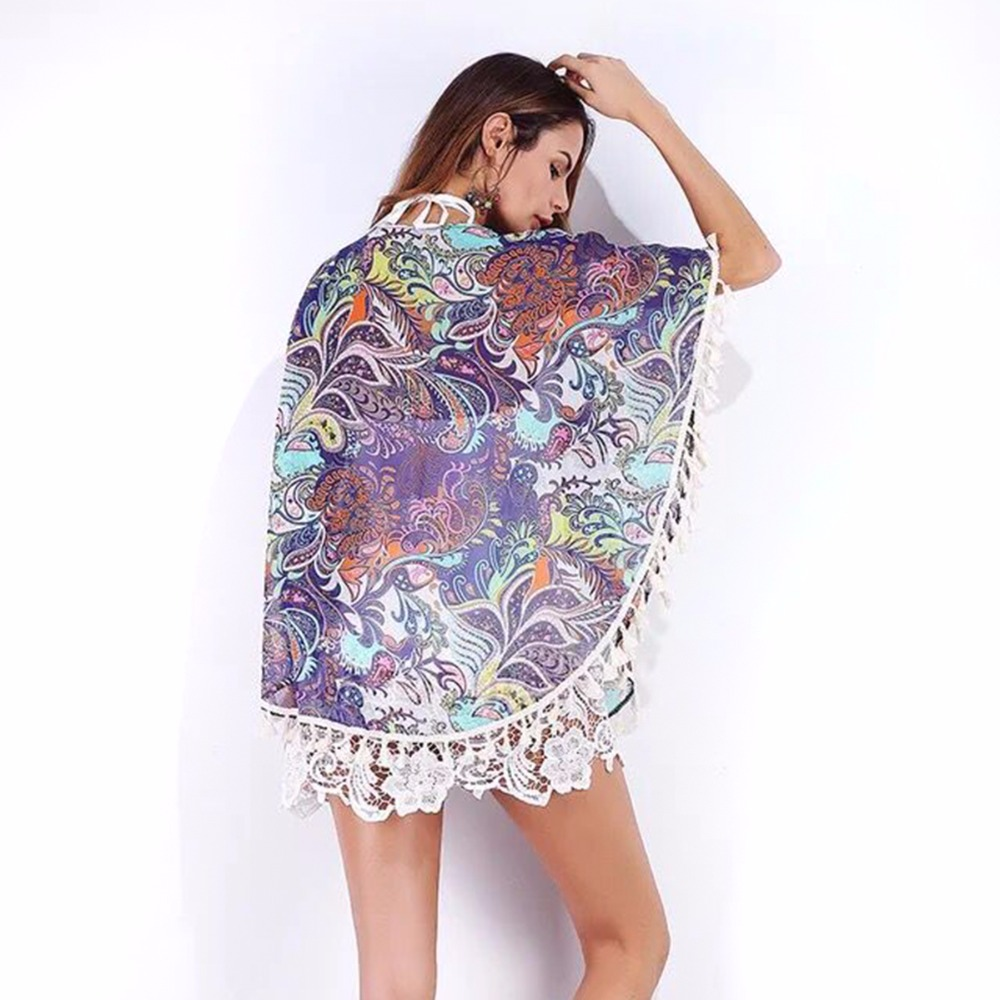 Puseky Tropical Floral Pattern Printed Lace Kimono Cardigan 2017 ...
