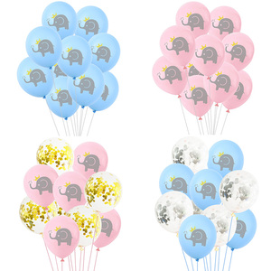 Image 4 - 10 Pcs 12 inch Cartoon Latex Ballonnen Kinderen Verjaardagsfeestje Decoratie Blauw Roze Olifant Baby Shower Ballonnen Decoraties Favor