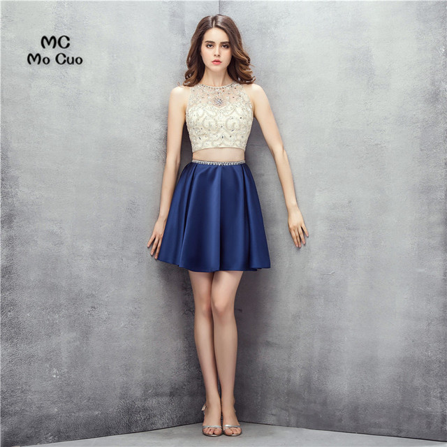 218109d58 2 unidades 2017 Nuevo azul oscuro y blanco gasa Vestido corto vestido de  cóctel ver cristales