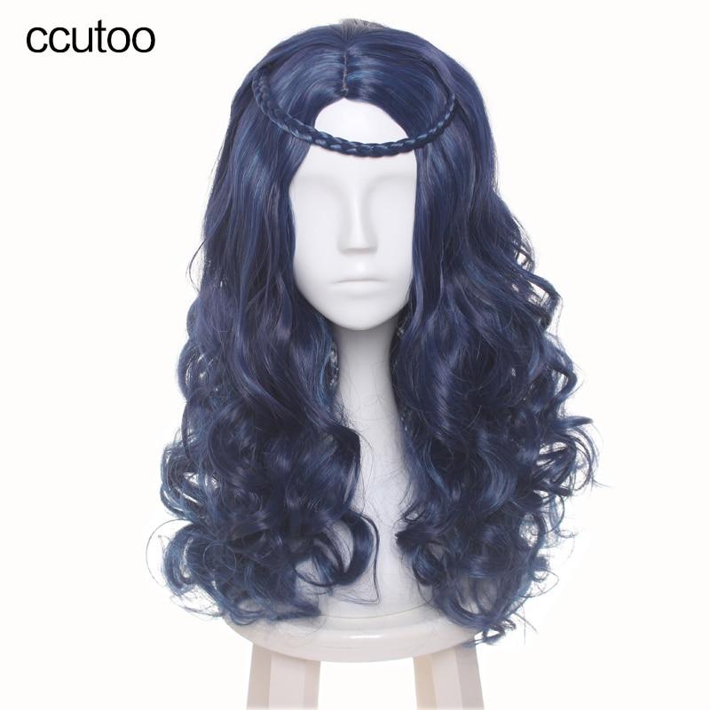 խորամանկ սերունդներ Evie Women Bersey Blue Black խառնուրդ Գույն Երկայնությամբ ալիքային սինթետիկ մազերի Cosplay Full Wig atերմակայունության մանրաթել