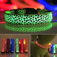 Pets Dog Puppy Light Night Flashing Safety Leopard Adjustable Nylon LED Collar