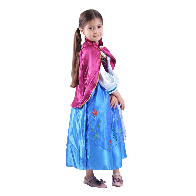 Little Girl Anna Dress up Costume Children Flower Print Princess Party Cosplay Fancy Dress with Cloak for Halloween GiftLittle Girl Anna Dress up Costume Children Flower Print Princess Party Cosplay Fancy Dress with Cloak for Halloween Gift
