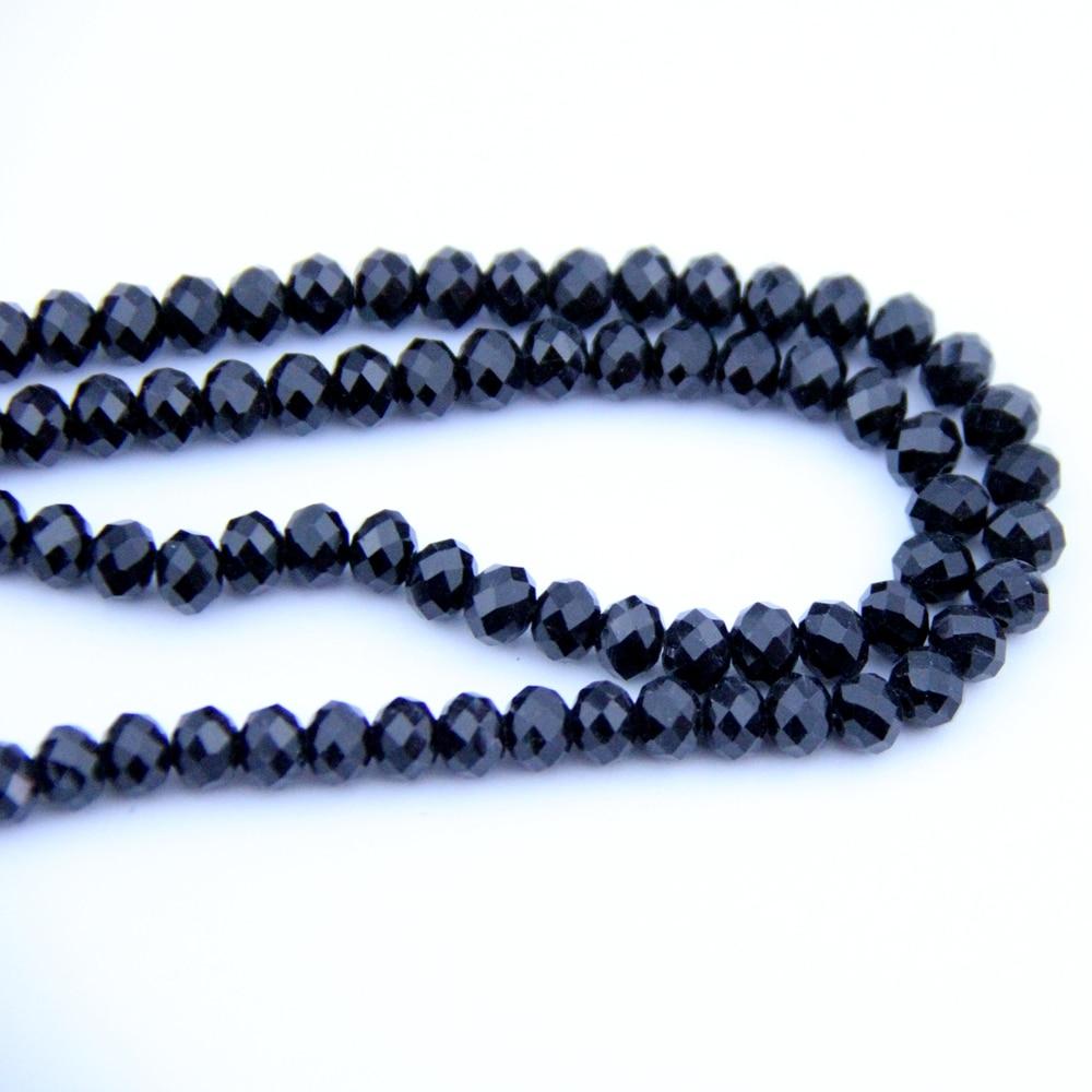 Gros boule de cristal noir 720-2880 pièces 8X10mm Rondelles de verre boule perles chine artisanat matériel pour la décoration de la maison