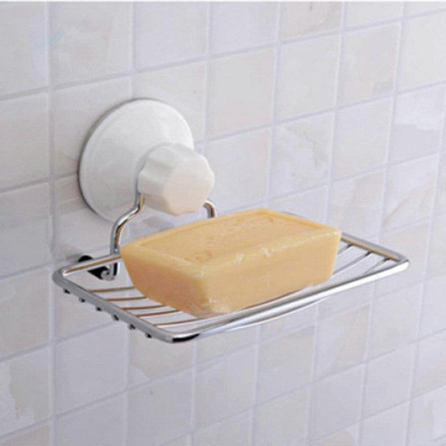 Fashion Strong Soap Holder Suction Bathroom Shower Accessory Soap Dish  Holder Cup Tray Free Shipping