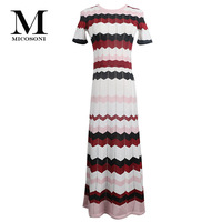 Micosoni Italian Knitting Style Summer 2019 New Gold Thread Hollow Out Colour Stripe Loin Knitted Lady's Dress Yellow Blue Red