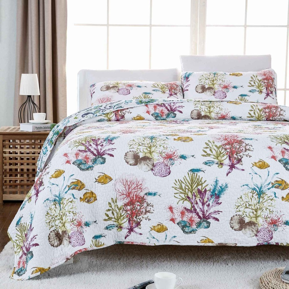 Duvet And Comforter Sets Us 168 Fadfay Ocean Fish Comforter Set Nautical Bedding Set Queen Size Soft Cotton Beach Themed Bed Quilt Set 3pc Fishing Bedspread Set In Bedding
