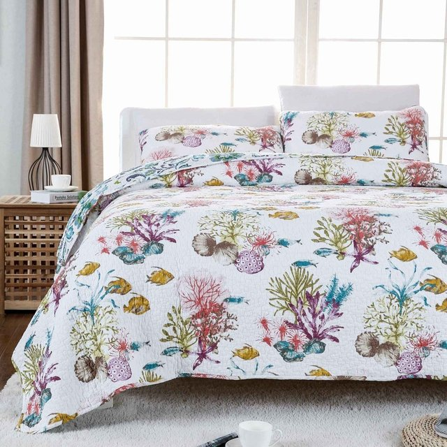 Fadfay Ocean Fish Comforter Set Nautical Bedding Queen Size Soft Cotton Beach Themed Bed Quilt