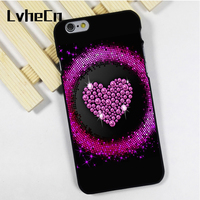 LvheCn phone case cover fit for iPhone 4 4s 5 5s 5c SE 6 6s 7 8 plus X ipod touch 4 5 6 Pink Sparkle Heart Glitter