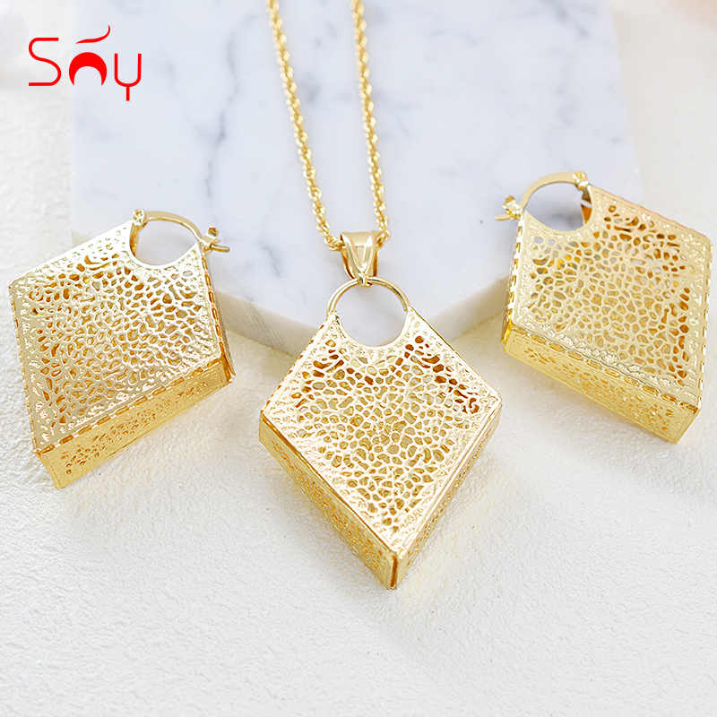 Sunny Jewelry Ethnic Jewelry Sets Earrings Pendant Necklace For Women Geometric Jewelry For Engagement Flower Pattern Jewelry