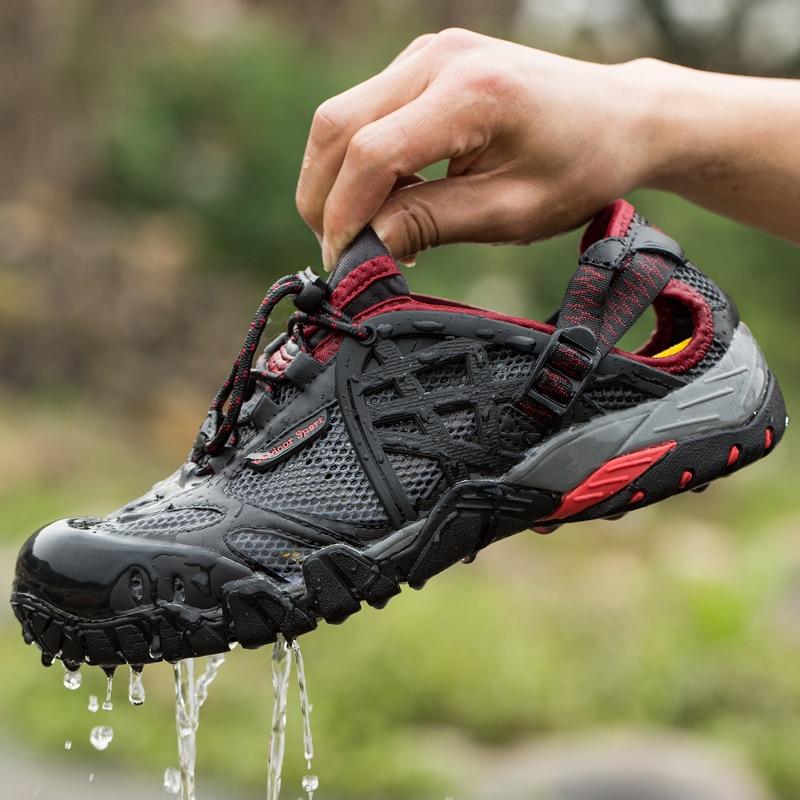 საზაფხულო სანდლები კაცი ფეხით მოსიარულე ფეხსაცმელი გარე კაცები სუნთქვათა დალაგება მამაკაცები
