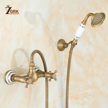 ZGRK Bathtub Faucets Antique Brass Bathroom Faucet Wall Mounted Bath Faucet With Hand Shower Antique Bronze Bath Shower Set