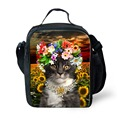 Flower Cute Cat Print Thermal Insulated Kids Lunch Box Floral Animal Food Lunch Bags Tote with Zipper Lunchbox Insulation Bag
