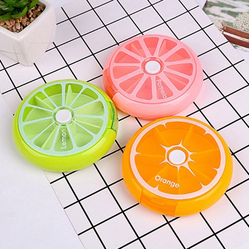 Pill Box Fruit Shaped Vitamin 7 Day Weekly Medicine Pillbox Tablet Storage Case Container Cases Travel Round Health Care