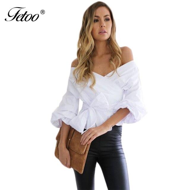 Nueva Moda Del Hombro de La Blusa Camisa de Las Mujeres de Alta Calidad Sexy V cuello Largo Manga Farol Cintura Tie Tops con Fajas Blusa P35