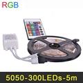 Flexible RGB LED Luz de Tira SMD5050 los 5 m LOS 60LED/m DC12V LED cinta de La Lámpara de Iluminación Decoración Del Hogar de 16 Colores Con Control Remoto IR controlador