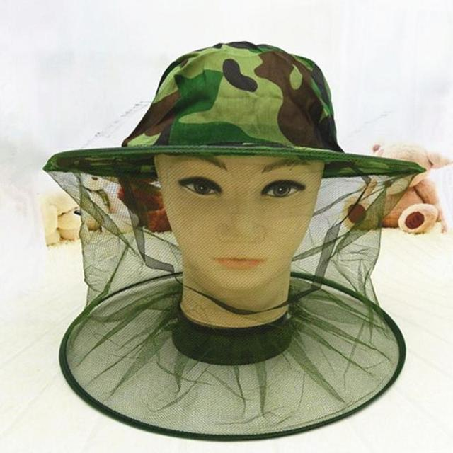 Camouflage Beekeeping Hat Beekeeper Hat Mosquito Bee Net Veil Full Face  Neck Cover Outdoor Bug Mesh Mask Head Protective Cap 11080a7560a4