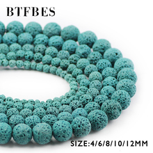 купить BTFBES Lake Blue Lava Beads Volcanic Rock Hight Quality Natural Stone 4 6 8 10 12mm Beads For Jewelry Making Bracelet DIY Ball дешево
