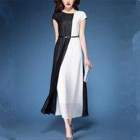 Patchwork Fashion Women 2019 S 2XL Plus Size Dress Summer Contrast Panelled Chiffon Dress Short Sleeves Maxi Dress Vestidos